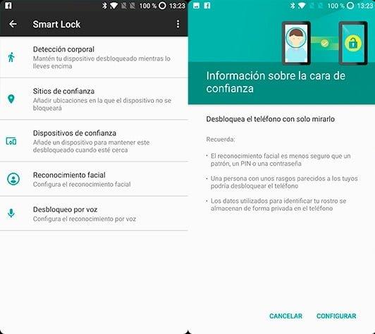 Sistema de desbloqueo facial nativo de Android